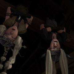 Brutacio y Brutilda durmiendo de cabeza
