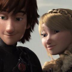 Astrid y Hipo mirando a Gothi.