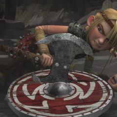 Astrid después de caerse encima de Hipo