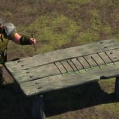 Flechas secándose al aire libre