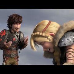Astrid y Hipo riéndose de la imitación