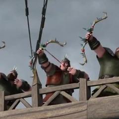 Tres cazadores con sus arcos disparando