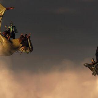 Brincanubes viendo a otro jinete de dragones.