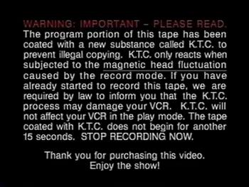 K.T.C. Warning Screen