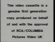 RCA-Columbia Pictures International Video Warning (1982) (S1)