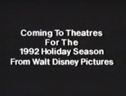 Coming To Theatres For The 1992 Holiday Season From Walt Disney Pictures