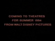 Coming to Theatres for Summer 1994 from Walt Disney Pictures