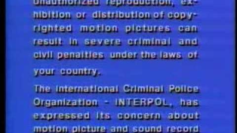 FBI Interpol (OIPC) Warning Screen (Warner Home Video version) -English & Français-