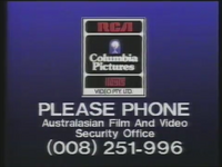 RCA-Columbia Pictures-Hoyts Video Piracy Warning (1990) AFaVSO information