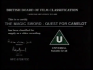 BBFC U Card (The Magic Sword Quest for Camelot)
