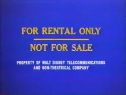 Walt Disney Home Entertainment For Rental Only screen