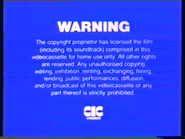 First CIC Video warning screen
