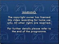 Second Paramount Home Entertainment UK warning screen