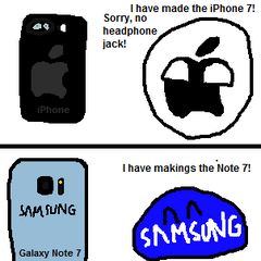 Comic on Samsungpotato's Note 7's exploding problem featuring Appleball.