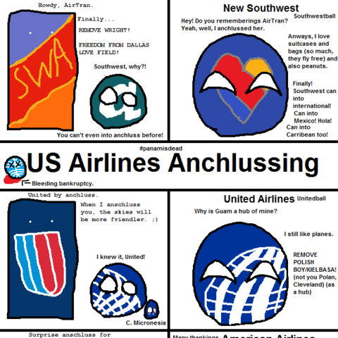 All US Airlines anschlussing another airline, including United Airlines anschlussing Continental Airlines.