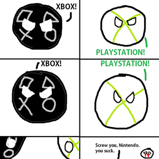 Playstation and Xboxball yelling at each other.