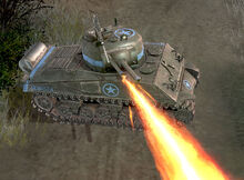 Featured Article Image about A Crocodile Sherman firing its flamethrower