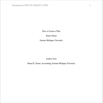 how to make a title page in apa format