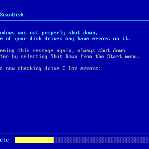 ScanDisk after an improper shutdown in Windows 98