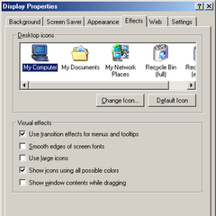 The effects Tab in Windows ME