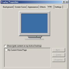 The Web tab in Windows ME