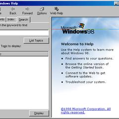 Windows Help's search tab in Windows 98