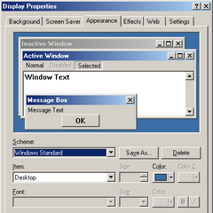 The appearance Tab in Windows ME