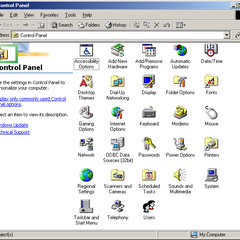 The classic view of Control Panel in Windows ME