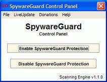 SpywareGuard control panel