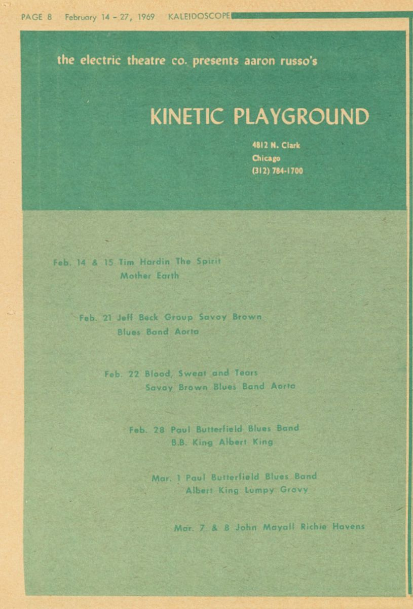 March 7 8 1969 Kinetic Playground Chicago Il Concerts