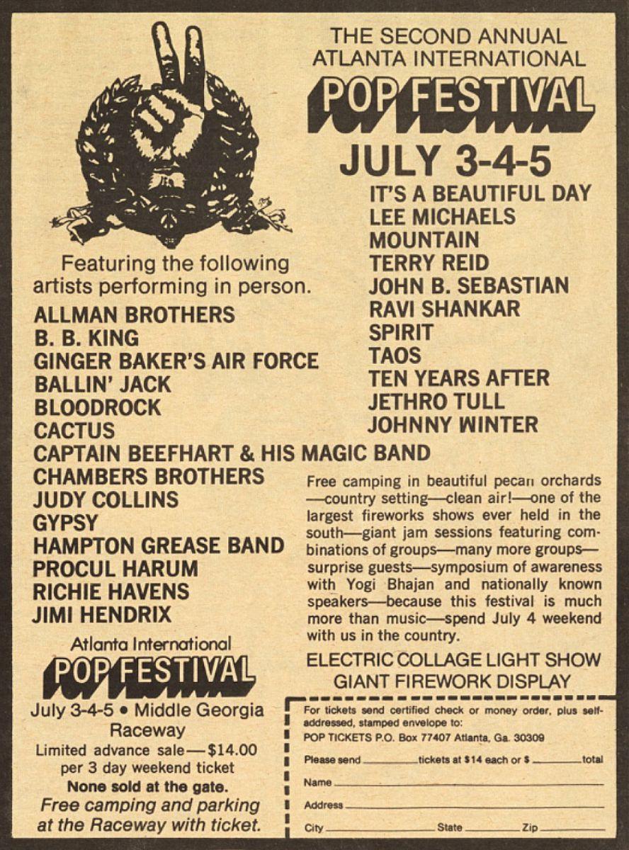 atlanta international pop festival 1970 concerts wiki