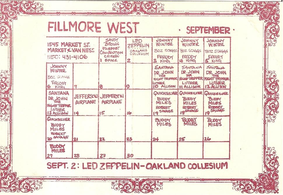 September 14-15, 1970 Fillmore West, San Francisco, CA   Concerts