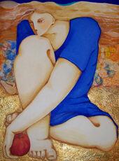Eve en robe bleue