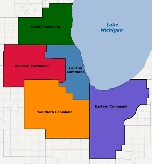 Chicago Defense Forces - Military Districts