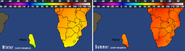 Climate Frecia in 2012 winter and summer
