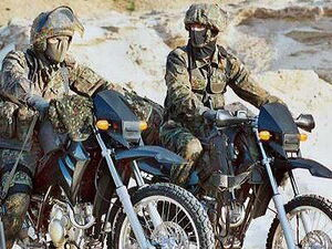 Western European Federation soldiers on dirt bikes