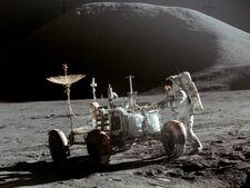 Carl Schmidt and lunar rover, 1970