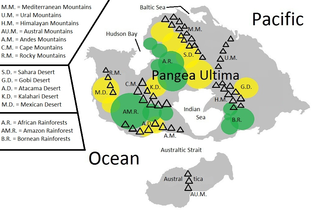 Image pangea ultima geographic map mountains deserts and pangea ultima geographic map mountains deserts and rainforestsg gumiabroncs Gallery