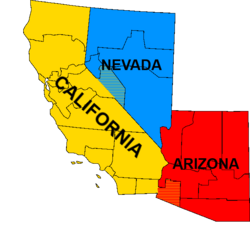 Map of Sierra (California-Nevada-Arizona regions)