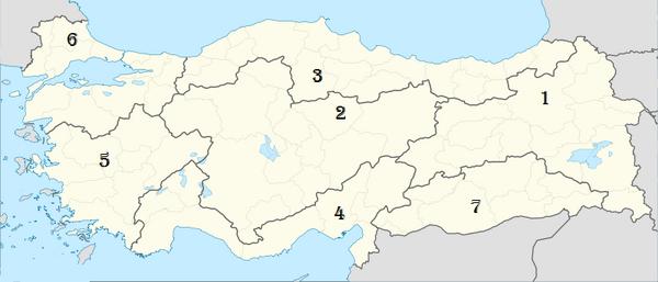 Map of the Democratic Republic of Turkey (Subdivisions)