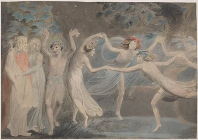 William Blake, 'Oberon, Titania and Puck with Fairies Dancing