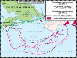 Карта открытий Беринга