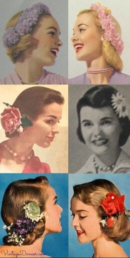 Прически 1950-х с цветочными аксесуарами для молодых девушек.