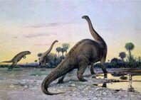 A Laelaps Attacking a Brontosaurus Wilhelm Kuhnert