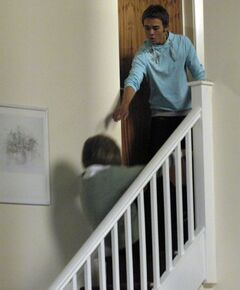 David pushes Gail down the stairs