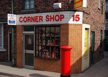 Corner shop front 1990s