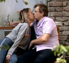 Abi and Steve kiss
