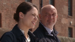 Phelan with Nicola in Liverpool