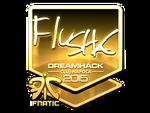 Flusha - naklejka Cluj'15 (złoto)