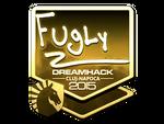 FugLy - naklejka Cluj'15 (złoto)